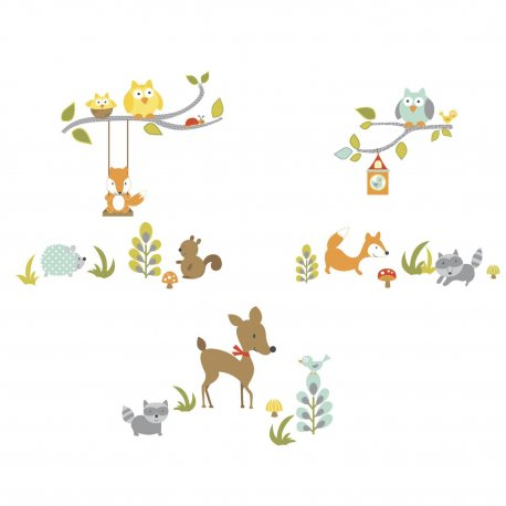 Sticker WOODLAND FOX & FRIENDS | 4 colite de 25,4 cm x 45,7 cm