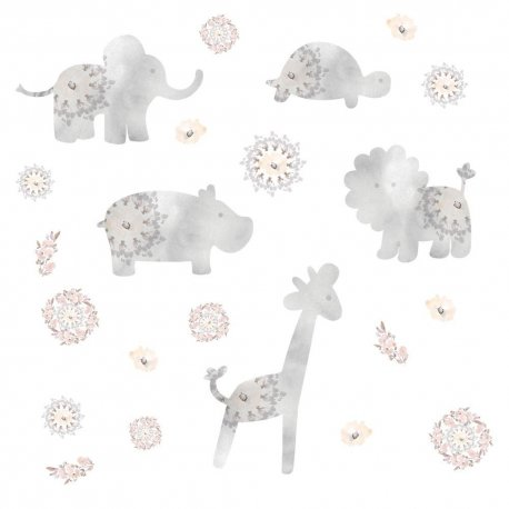Sticker GRAY BABY ANIMALS | 4 colite de 25,4 cm x 45,7 cm
