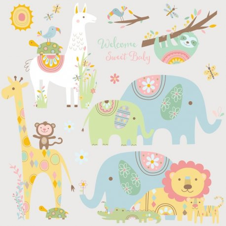 Sticker TRIBAL BABY ANIMALS | 4 colite de 22,8 cm x 44,1 cm