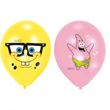 Set 6 baloane latex SpongeBob 27 cm